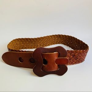 BCBGMaxAzria Boho Brown Braided Leather Belt